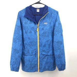 REI Boys Blue Patterned Zip Up Nylon Jacket